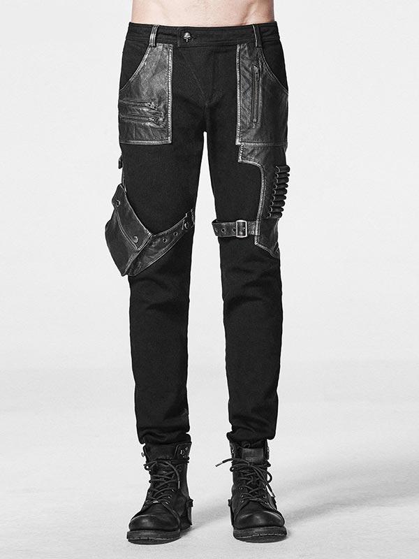 Mens Punk Military Style Bullet Pouch Pants