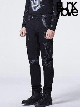 Mens Punk Leather Bag Pants