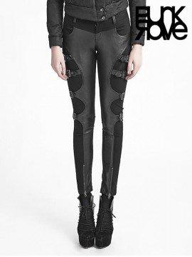 Gothic Warrior Futuristic Black Leather Pant