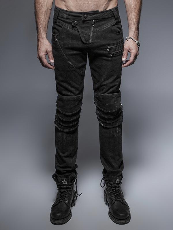 Mens Punk Black Denim Armour Jeans