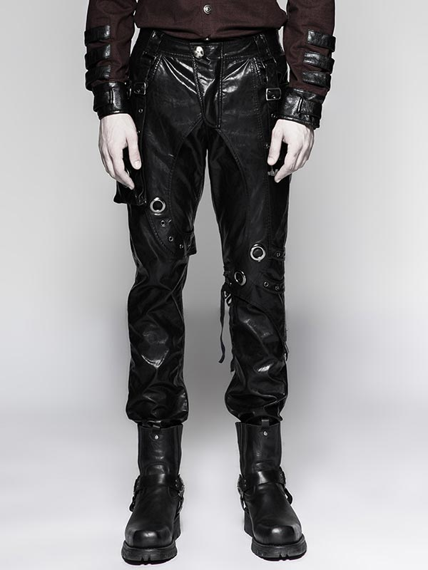 Mens Steampunk Black Leather Pants