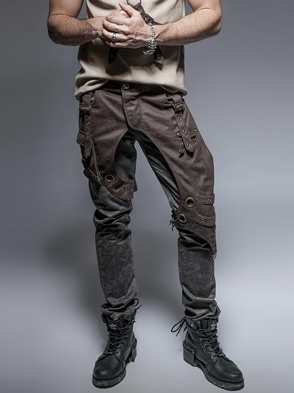Mens Steampunk Gray and Coffee Coloured Pants