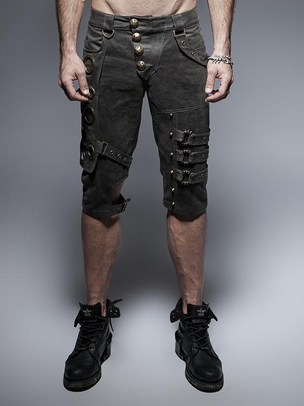 Mens Steampunk Spiked Wheel Shorts