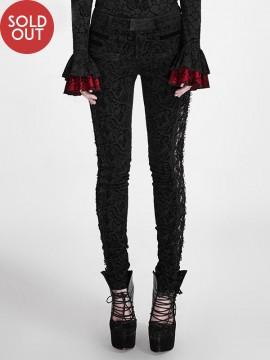 Gothic Lace Drawstring & Flower Print Pant