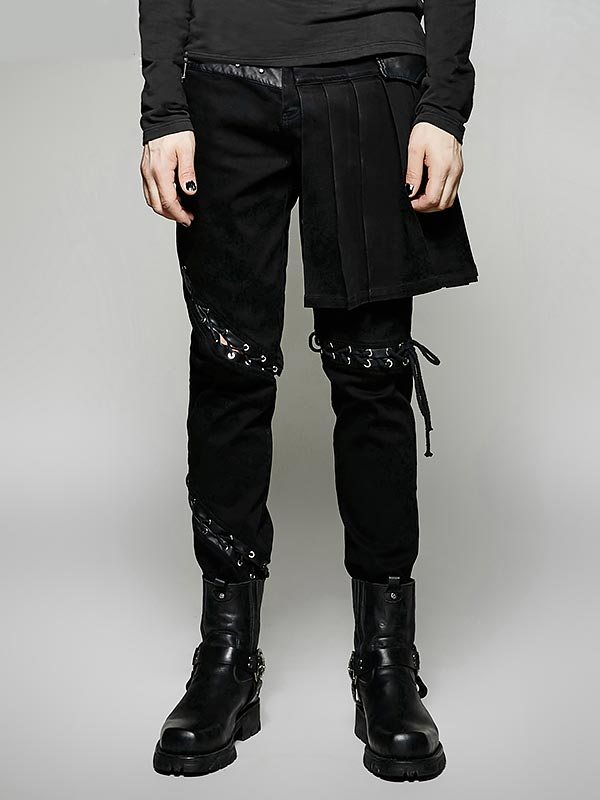 Mens Punk Two-Piece Removable Skirt Pant