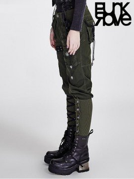 Steampunk Multi-Pocket Army Green Pant