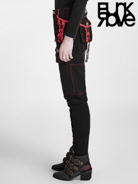 Steampunk Multi-Pocket Black & Red Pant