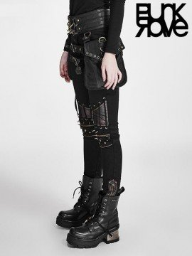 Steampunk Bicast Leather Stitching Trousers