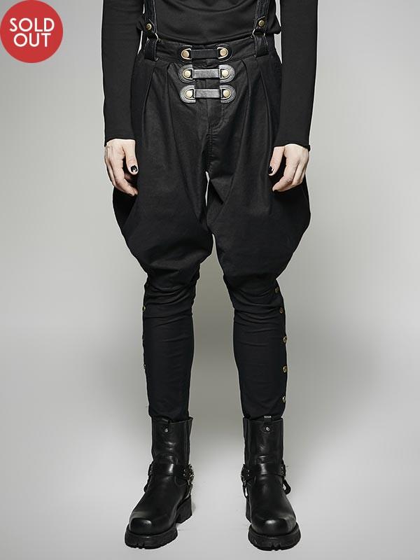 Mens Lolita Steampunk Military Black Pants