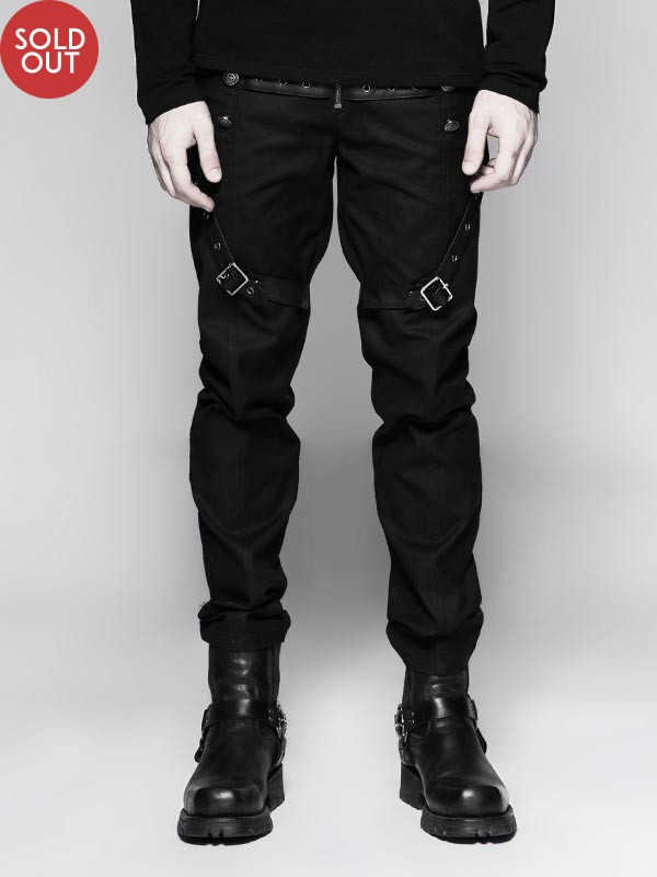 Mens Punk Military Uniform Trousers