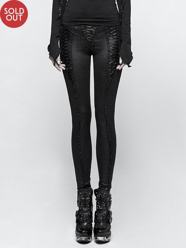 Gothic Rope Tie Drawstring Leggings - Black