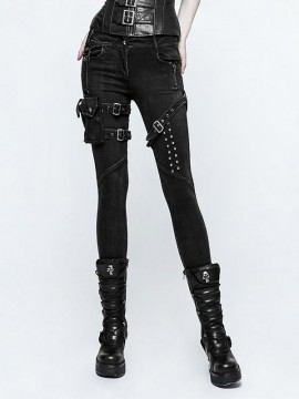Punk Skinny Jean with Detachable Side Pocket