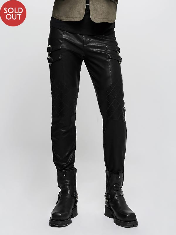 Punk Grid Pattern Leather Trousers