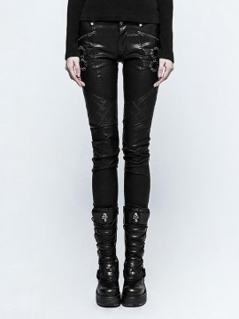 Punk Grid Pattern Leather Pant