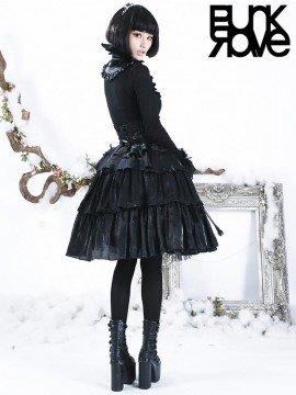 Gothic Lolita Princess and the Pea Black Skirt