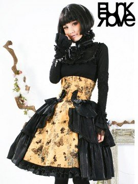 Gothic Lolita Princess and the Pea Gold & Black Skirt