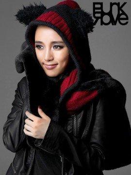 Lolita Black & Red Furry Ears Head Scarf