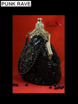Lolita Beaded Clutch Purse - Black