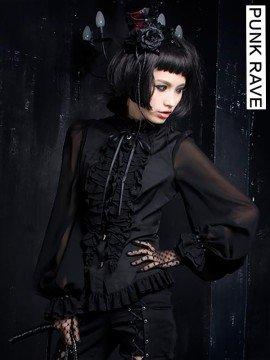 Gothic Lolita Chiffon Blouse - Black
