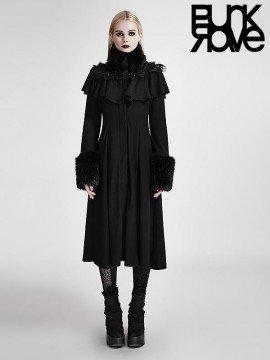 Gothic Lolita Fur Trimmed Long Coat
