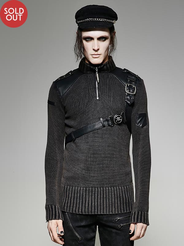 Mens Steampunk Military Sweater