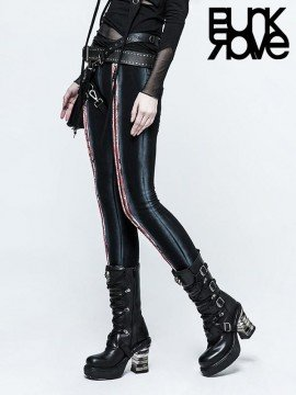 Black & Red Long Zipper Leggings