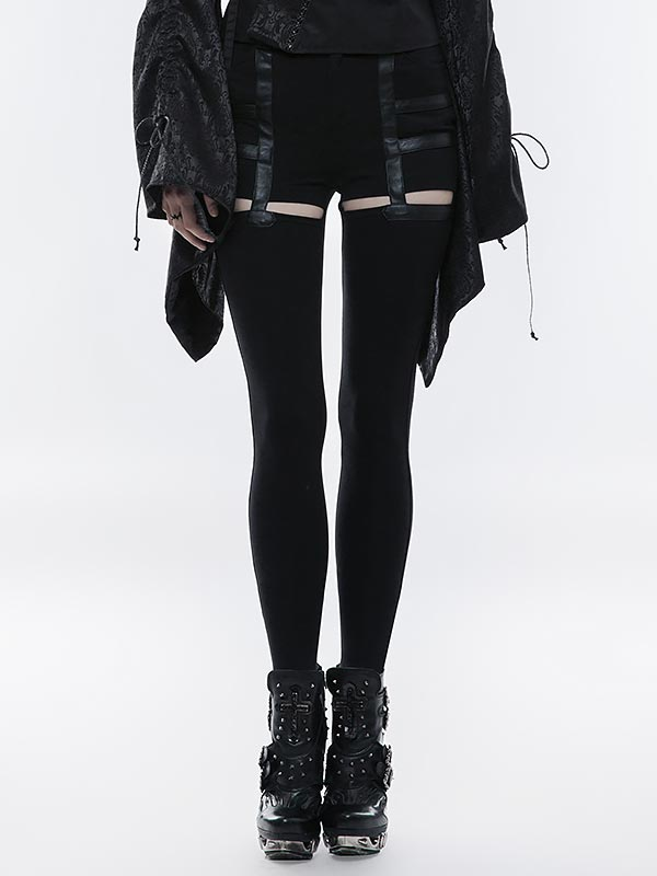 Punk Hollow-out Suspender Style Stretch Pants