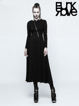 Gothic Spiderweb Witch Dress with Hood
