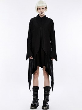 Gothic Bat Wings Shirt Dress - Black
