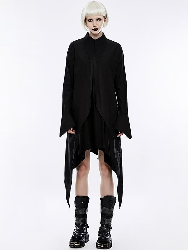 Gothic Bat Wings Shirt Dress - Black