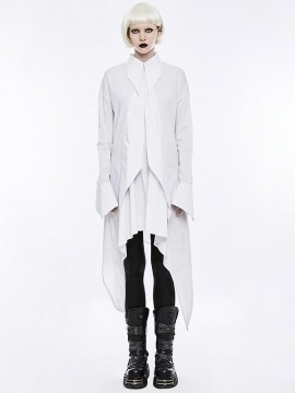 Gothic Bat Wings Shirt Dress - White