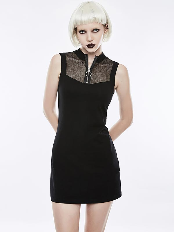 Punk Dark Mosaic Mesh Sleeveless Dress