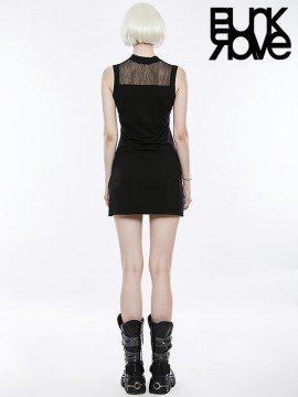 Punk Dark Mosaic Mesh Sleeveless Dress
