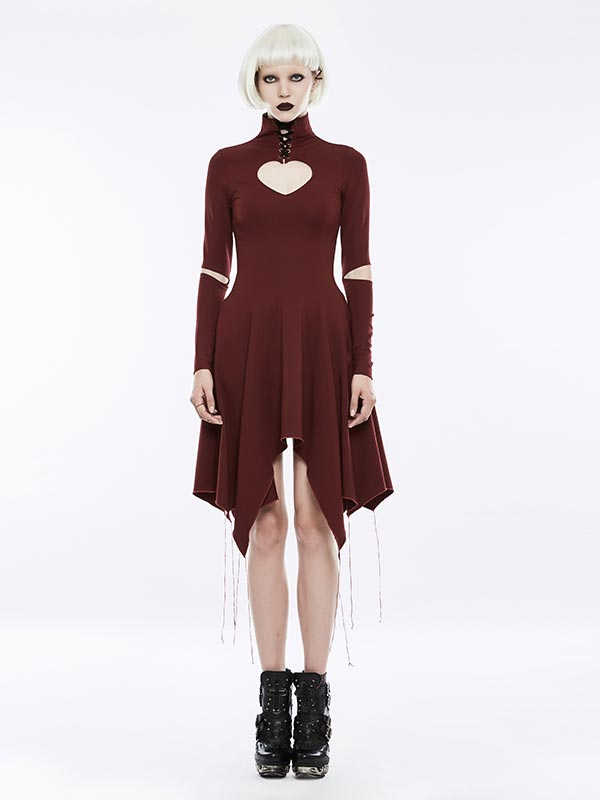Gothic Victorian Heart-Shape Hollow-Out Dress - Red