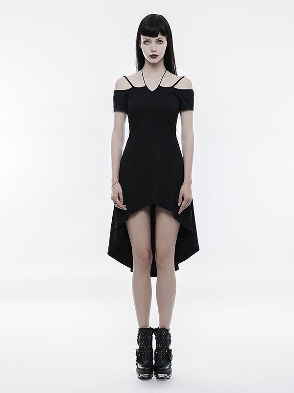 Goth Strapless Dress with Rope Tie Necklace