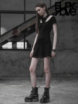 Daily Life - Punk Drawstring Collar Harness Dress