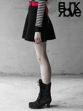 Daily Life Black & Red Woollen Skirt