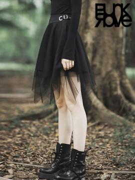 Daily Life Dark Mesh Skirt - Black