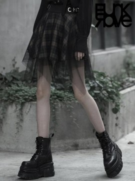 Daily Life Dark Mesh Skirt - Grey