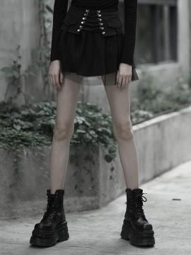 Daily Life Punk Mesh Plaid Skirt