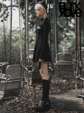 Daily Life - 'Hardcore Girl' Series Military Style Pinafore Shift Dress