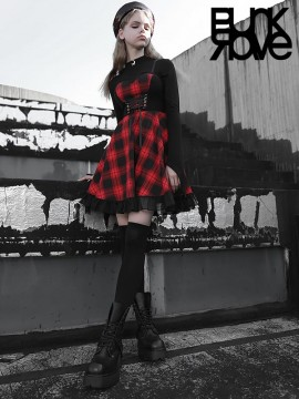 Daily Life - Black & Red Plaid Braces Dress
