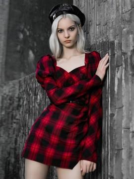Daily Life Red & Black Plaid Princess Sleeve Dress