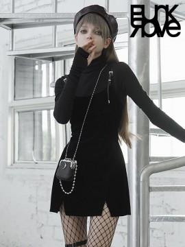 Daily Life - Plaid Pinafore Shift Dress - Black