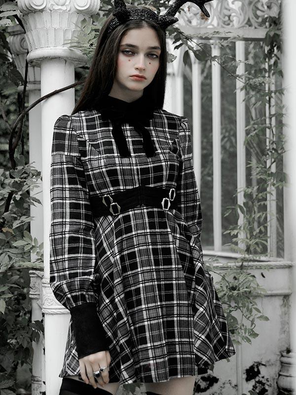 Daily Life Black & White Plaid Court Dress