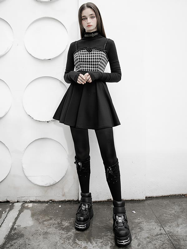 Daily Life Swallow Grid Little Black & White Dress