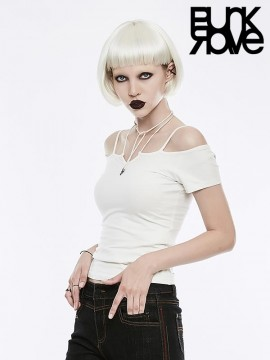 Gothic Off-The-Shoulder Tie Rope Necklace T-Shirt - White