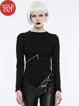 Goth Zipper Decorated Long Sleeve Top