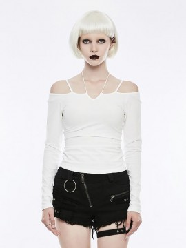 Tie-The-Rope Strapless Long Sleeve Top - White