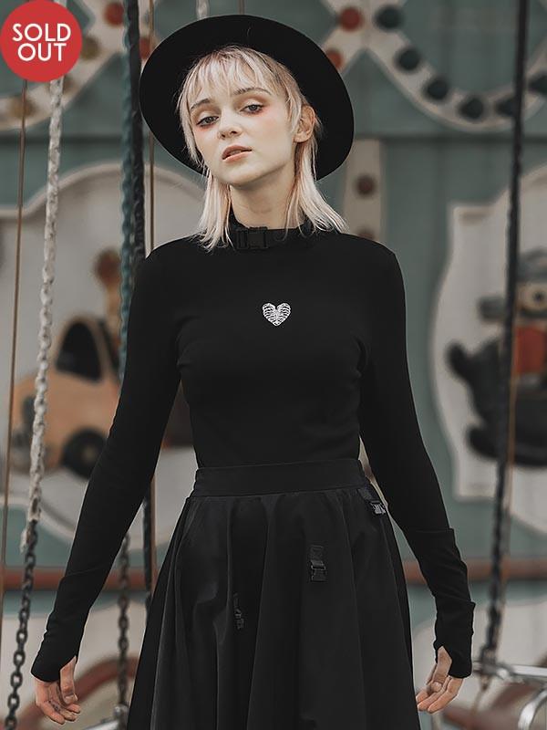 Daily Life 'Hardcore Girl' Series Military Brushed Base Skeleton Heart Top
